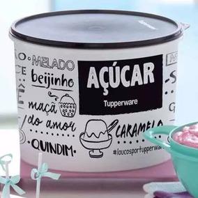 Vazilha Promocao Tupperware Caixa Açúcar 5kg Preto E Branco
