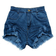 Shorts Jeans Feminino Destroyed Cintura Alta Hot Pants St015