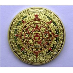 Onza Calendario Azteca Bañado En Oro 24k Con Estuche