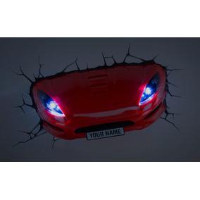 Lampara Para Pared En Forma De Auto Rojo 3d Deportivo Led
