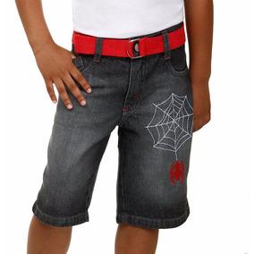 Bermuda Infantil Jeans Com Cinto Homem Aranha! Nova