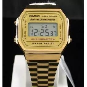 89dad3644a3 Relógio Casio Unissex A168 Retrô Vintage Dourado Caixa Novo. R  140