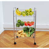 Mueble Carro Verdulero Organizador Fruta Verdura Cromado Pc