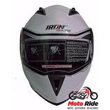 Casco Iron Racing Abatible Con Gafas Blanco