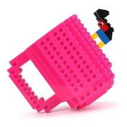 Caneca Copo Lego 3d + Brinde Lego  Cores Rosa Pink Geek Nerd