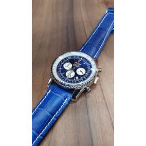 Relo Breitling Navitimer Azul Cronometro Piel Caja Acero