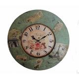 Reloj De Pared 60 Cm De Madera Estilo Vintage Parisino