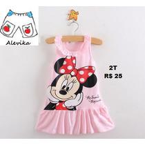 Vestido Fantasia Criança De Algodão Rosa Minnie Infantil 2t