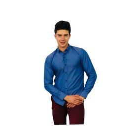 Camisa Slim Fit Caballero Lisa Color Azul Obscur - Peaceful
