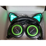 Audifonos Orejas Gato Luz Led Otaku Gamer Verde