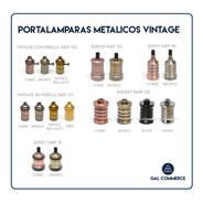 4 Portalamparas Vintage Metalico Retro Bronce Elección En Stock!