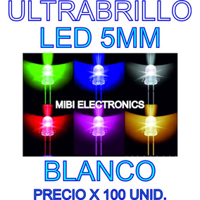 Led 5mm Ultrabrillo Color Blanco Frio Precio X 100 Unidades