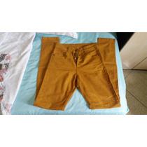 Calça Jeans Hot Pant Bege Mostarda Lycra Elastano 38