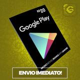 Cartão Google Play Store Gift Card R$20 Reais Brasil Android