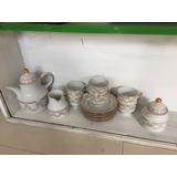Juego De Te/cafe Porcelana Tsuji 15 Piezas Borde Oro Nuevito
