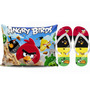 Kit Angry Birds Almofada 20x28 Cm + Chinelo