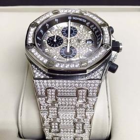 Relógio Ap Prata Com Pedras Cravejadas Mostrador Preto Aço