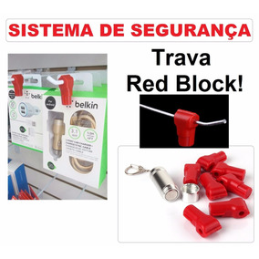 Kit Trava Anti Furto P/ganchos Lojas + Chave Magnetica 50pçs