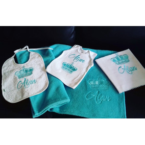 Set 4 Piezas Para Bebes Toalla Pañal De Tela Almilla Bordado