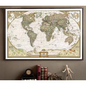 Mapa Mundi Vintage Em Papel Kraft 72.5 X 47.5 Cm