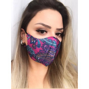 Máscara Tecido 3 Camadas Estampada Lavável Confortável