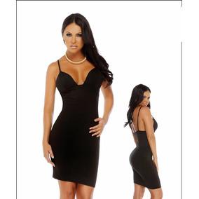 V524 Sexy Vestido Negro Talla S Poliester Licrado