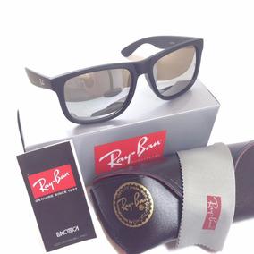 Oculos Masculino Rb 4165 Ray Ban Justin Preto Cinza Espelhad