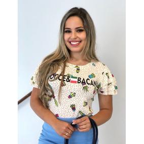 Blusa Luxo T-shirt Estampada Choker Flor Pompom Blogueira