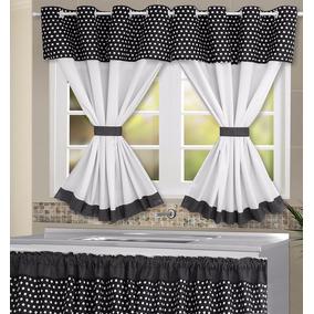 Cortina Cozinha 2,60mx1,40m+cortina De Pia - Branco E Preto