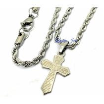 Pingente Cruz Crucifixo Pai Nosso Aço + Cordão Trançado Aço!