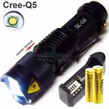 Mini Lanterna Led Cree Q5 Tática Recarregável Com 2 Baterias