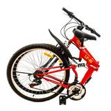 Bicicleta Plegable Konami Color Roja Aro 26 Acero 18 V