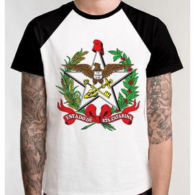 Camiseta Raglan Brasão Santa Catarina Camisa Blusa Unissex