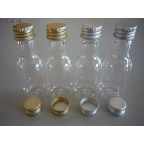 Kit Com 100 Mini Garrafinhas Pvc 50 Ml Com Tampa Metal