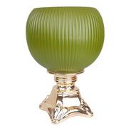 Vaso Verde Com Pé Dourado | 30 Larg X 25 Alt X 25 Prof