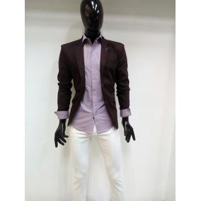 Camisa Color Lila De Hombre Corte Slim Fit