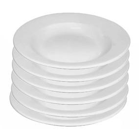 Conjunto De 5 Pratos De Porcelana- Prato Fundo Restaurante