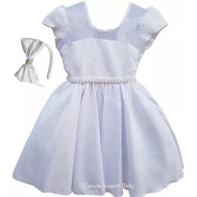 Vestido Infantil Branco Batizado Daminha Casamento Comunhão