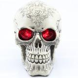 Caveira Mexicana Cranio Com Olhos De Coração Vermelho Em Led