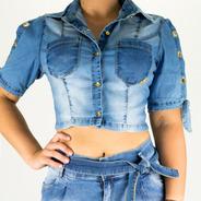 Camisa Cropped Sol Jeans Manga De Amarrar Com Lycra Azul