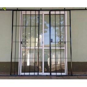 Reja puerta balcon doble corrediza aberturas puertas en for Puerta balcon de aluminio