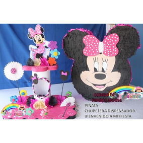 Combo De Piñata Chupetera Cuadro De Selfies Minnie Mouse