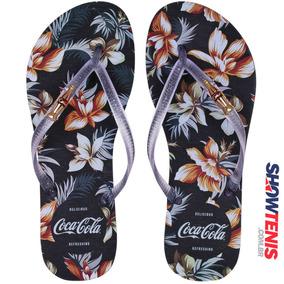 Chinelo Coca Cola Tropic Floral Feminino - Preto