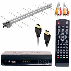 Kit Tv Digital Conversor Hd Com Hdmi + Antena Externa Uhf