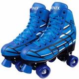 Patins Classico Azul C/4 Rodas Roller Skate Fênix Nº34/35 #