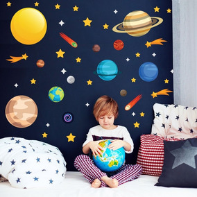 Adesivo De Parede Sistema Solar Quarto Menino Planetas