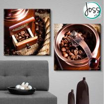 Cuadros Decorativos 2 Pz 40x40 Aroma De Cafe