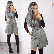 Vestido Casaco Sobretudo De Lã Manga Trico Importado Inverno