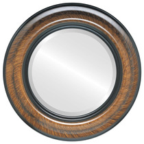 Espejo De Pared Lancaster Framed Round In Vintage Walnut, 2