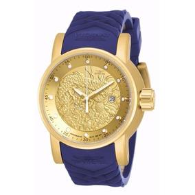Relógio Invicta 18215 S1 Yakuza Azul Dourado Original Caixa